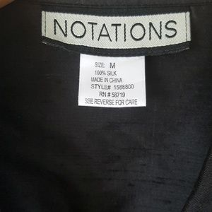 Notations Tops - Notations 100% Silk Black Button Up 3/4 sleeve Top